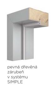 Pevná zárubeň VIVENTO dřevěná pro bezfalcový systém SIMPLE - dekory PP