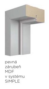Pevná zárubeň VIVENTO MDF pro bezfalcový systém SIMPLE - dekory  PP